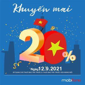 Mobifone khuyến mãi 20% giá trị thẻ nạp ngày 12/9/2021